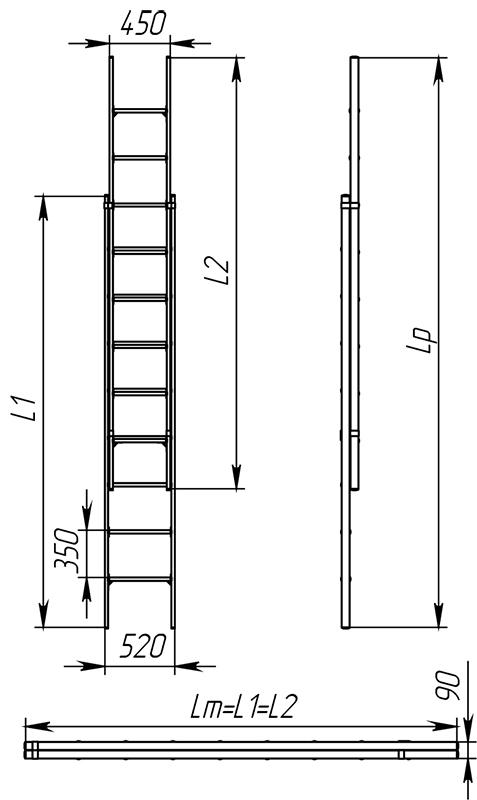 Лестницы стеклопластиковые приставные раздвижные диэлектрические ЛСПРД